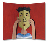 Pop-Up Illustration of Boy with Mask